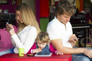 Family problems - Young technological family with problems of communication